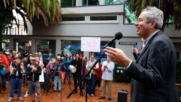 Lawyer Steven Zindel speaks at the protest at the 1903 Square opposing the Nelson City Council's draft City Amenity Bylaw.