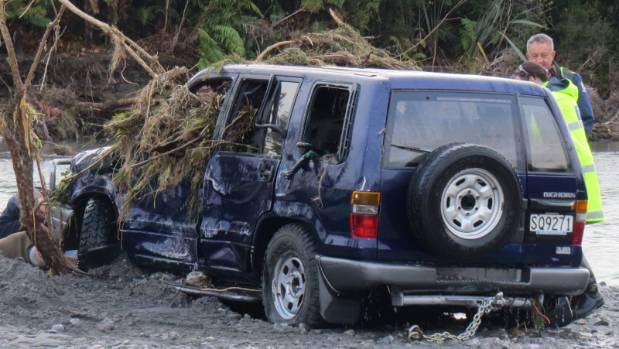 The four-wheel-drive ute that became submerged in the Poerua River on the West Coast.