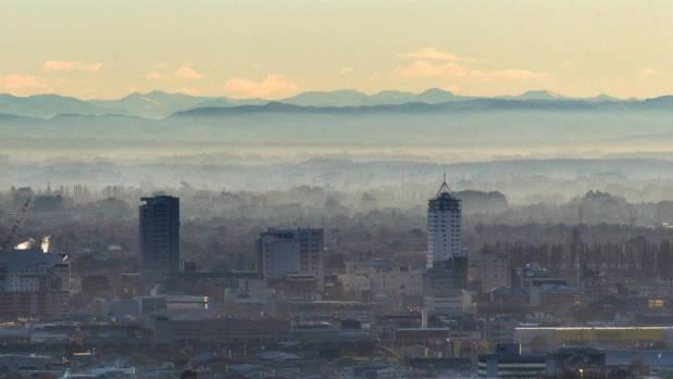 Smog over Christchurch at sunrise.