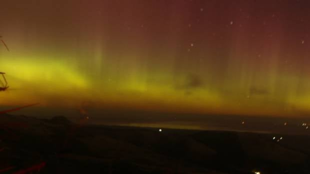 The Aurora was visible to the naked eye from Gebbies Pass summit on Banks Peninsula, Christchurch.