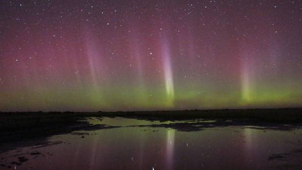 The Aurora dazzled Ashley Harvey, who took this unedited photo out the back of Lincoln University.