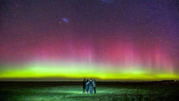 The aurora captured in Motukarara.