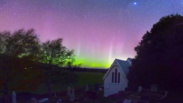 The aurora lights the skies around the Church of the Epiphany, Gebbies Pass.