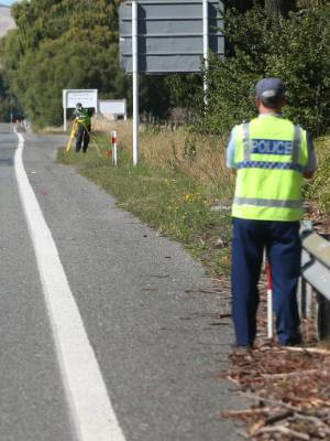 Police investigators surveyed State Highway 1 near Blenheim after the fatal car accident in February.