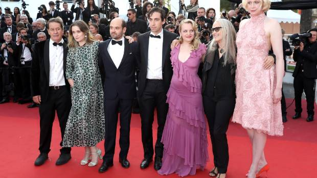 Alice Englert, left, and Jane Campion, right, with Top of the Lake castmates at the Cannes Festival earlier this year.