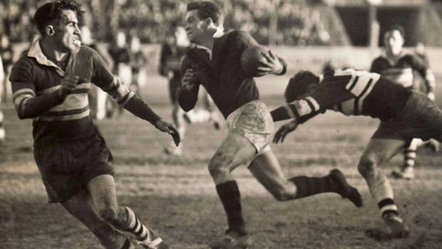 Martin, centre, played top-level rugby and rugby league but was he good enough to have been an All Black?