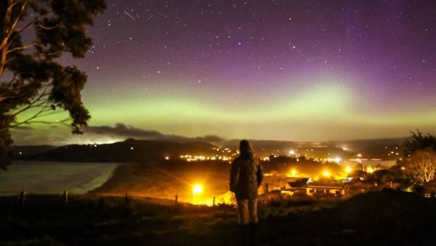 Aurora Australis as viewed from Warrington, Dunedin.