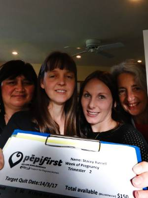 Stacey Russell, second from right is on the Pepi First programme which is run and supported by Sonia Hepi-Treanor, left, ...