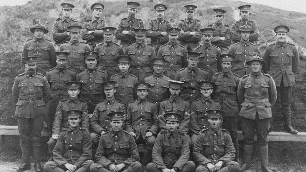 Charles Edwin Robertson, of the 21st Platoon 1st Battalion, 7th Reinforcements in France in September 1916, third row, ...