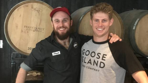 Fraser Kennedy with brewery sales manager Ethan Jones, formerly of Kerikeri, at Goose Island Brewhouse in Shanghai.