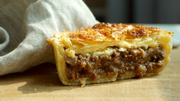 A gourmet Tuckshop beef and cheese pie.
