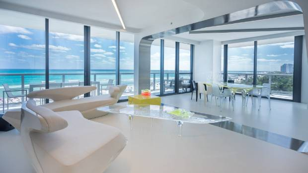 The 24,746 square metre Miami apartment was redesigned by Hadid to create a large three bedroom, four bathroom home.