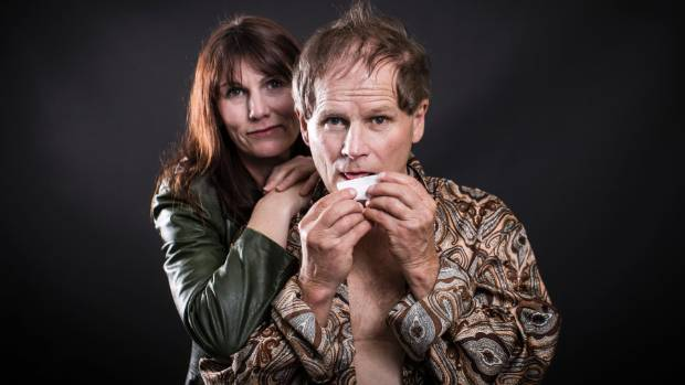 Jen Amosa and Hugh Neill as Sandra and Kenneth, rolling up, in the play Love Love Love.