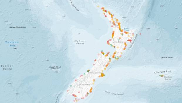 An interactive map details records of tsunami along the coastline and islands.