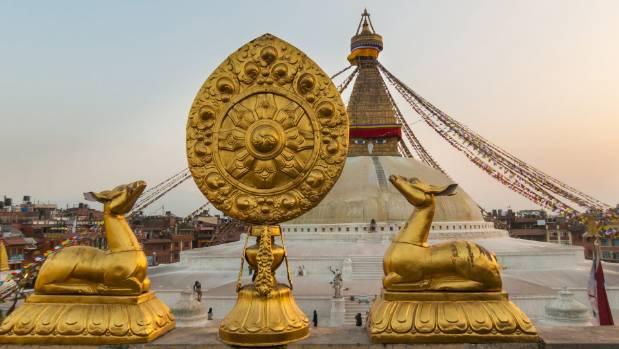 Boudhanath stupa in Kathmandu, Nepal, is a place of pilgrimage for many Buddhists.