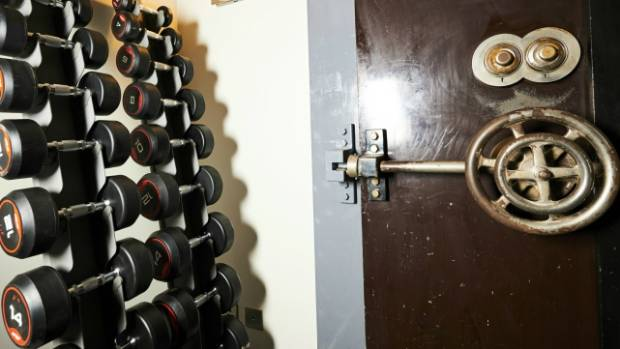 The bank vault doors now lead to the spa.