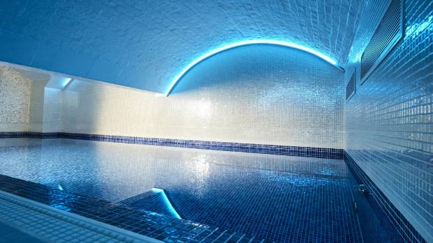 The swimming pool is in the basement of the building - in what was once the vaults of the bank.