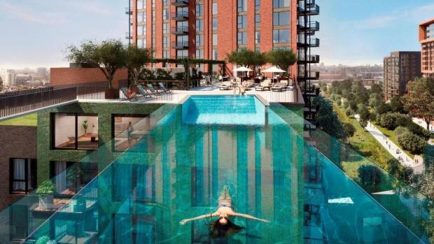 Floating from rooftop to rooftop at the Embassy Gardens in Battersea, London - the first apartments have come on the market.