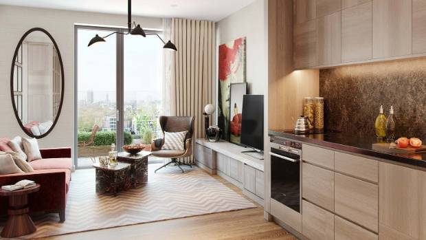 Apartment interiors are contemporary, with sleek timber cabinets.