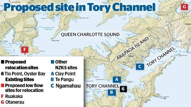 Low-flow salmon farm sites and one of the six proposed relocation sites in Tory Channel.