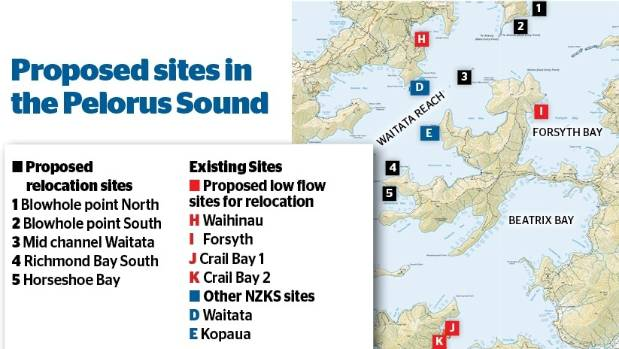 Low-flow salmon farm sites and five of the six proposed relocation sites in Te Hoiere/Pelorus Sound.