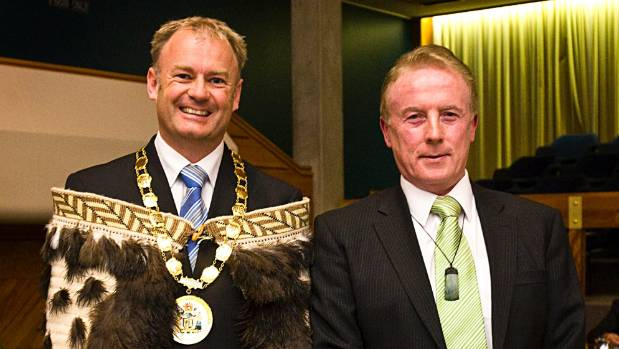 Palmerston North City Council chief executive Paddy Clifford with former mayor Jono Naylor, left, in 2010.