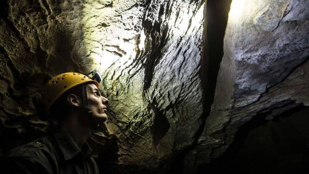 Environmental officer Carl Fischer monitors the cave microclimate and ecosystems, including carbon dioxide, humidity, ...