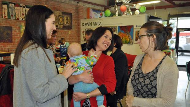 Jacinda Ardern (left) and Hutt South candidate Ginny Andersen, centre.