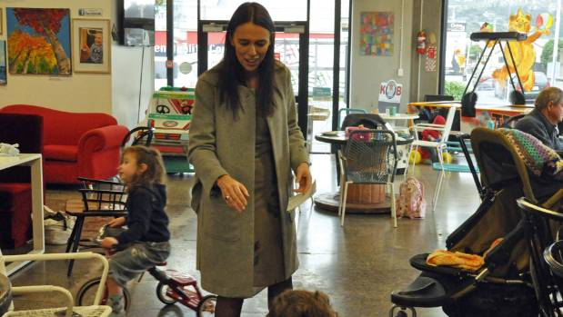 Labour deputy leader Jacinda Ardern delivers a talk among toddlers and toys at the Kinderbear Cafe in Petone, Lower ...