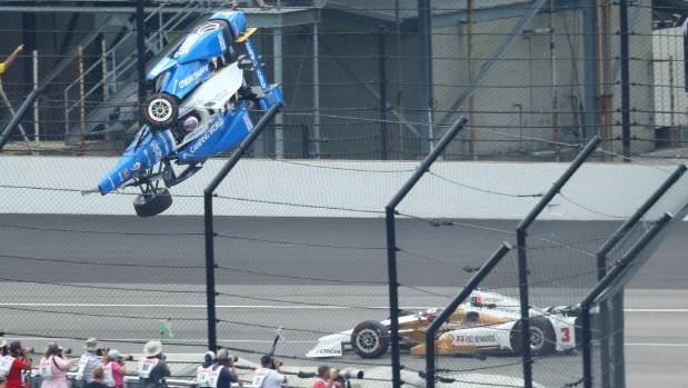 IndyCar Series driver Scott Dixon during a crash at Indianapolis 500 two weeks ago.