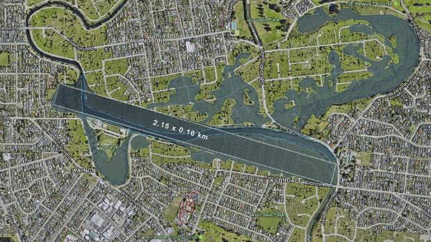 Aerial view of Kerrs Reach on the Avon River with indicative proposed flatwater sports course superimposed along with ...