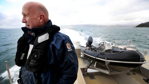 Senior constable and crewman Ross Lane during a standard patrol in Wellington Harbour aboard the Lady Elizabeth police ...