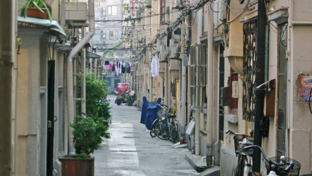 Traditional Chinese alley in old area of Shanghai.