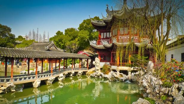 Traditional pavilions in Yuyuan gardens of Shanghai.