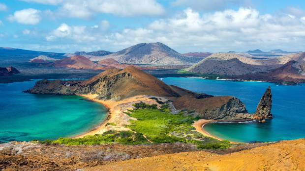 View of two beaches on Bartolome Island in the Galapagos Islands in Ecuador.