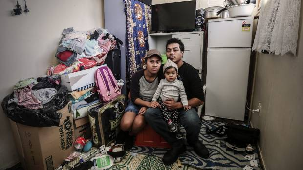 Julia Mika, Jeff Alatina and their 18-month-old daughter Julia have lived in this room in a Favona boarding house for ...