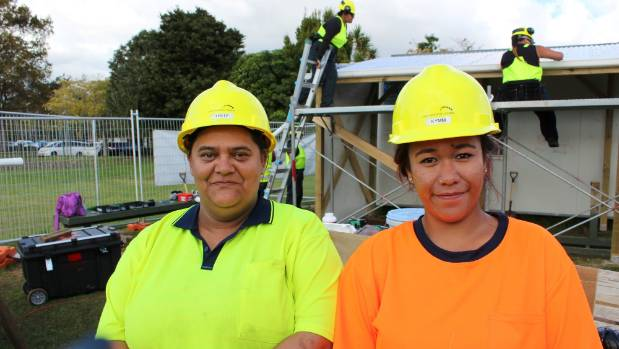 Teille McCoy and Kymberlee Popata are training with the 'Nailing It' programme by Destination Trades to join the trades ...
