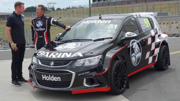 Greg Murphy and team-mate Josh Marston with the Barina AP4 rally car.