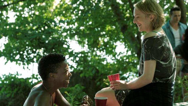 Moira (Samira Wiley) and Offred (Elisabeth Moss) in The Handmaid's Tale.