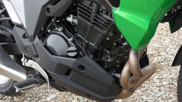 Ninja 300 engine pulls lower gearing on the Versys-X and there's plenty of revs to play with.