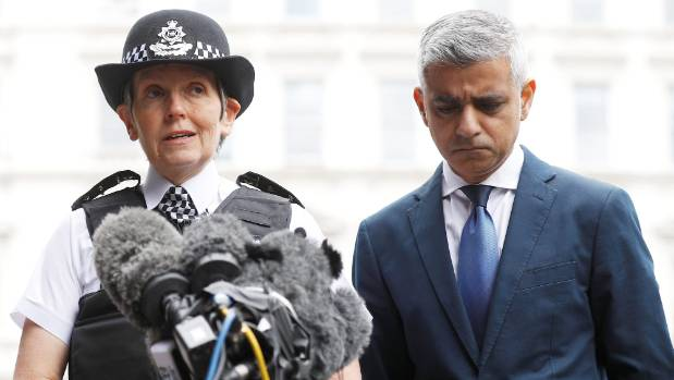 Mayor of London Sadiq Khan (right) and Metropolitan Police Commissioner Cressida Dick visit the scene of the attack on ...