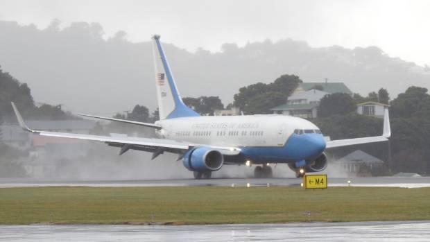Rex Tillerson's jet landed in Wellington at midday.