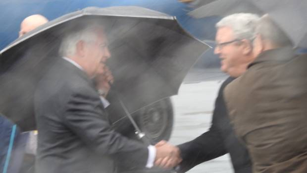 Tillerson was met by Foreign Affairs minister Gerry Brownlee at the airport.