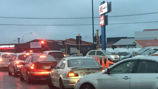 On Monday night at 6pm there was a queue as drivers tried to leave the new Petone Kmart.