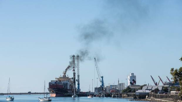 Container vessel 'Maersk Jalan' billows smoke into the atmosphere at Port Nelson while uploading containers back in May.