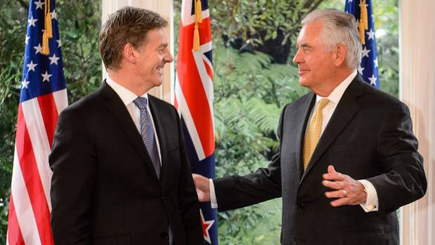All smiles between Bill English and Rex Tillerson but much of New Zealand not so warmly disposed.