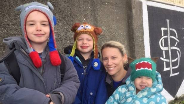 Amy Christie with her sons Abel, 7, Jove, 5 and daughter Scout, 2. SHe wants her daughter to be able to attend Rongotai ...
