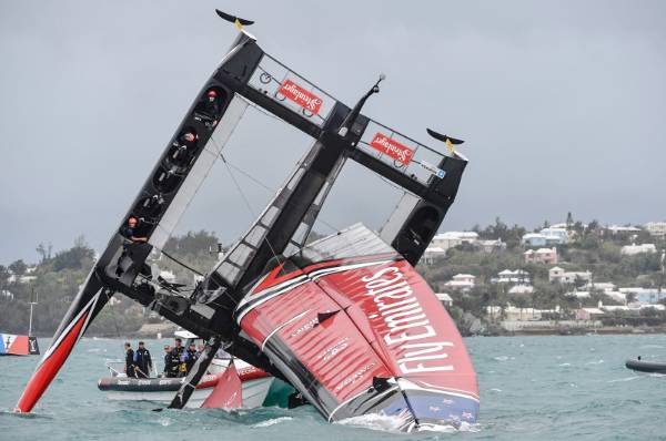 Team NZ capsize in the Great Sound.