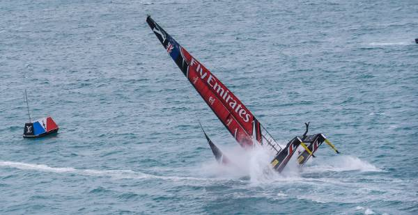 Disaster as Team NZ pitch-pole in the Great Sound off Bermuda.