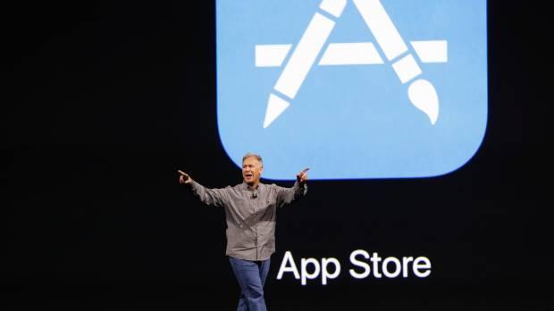 Phil Schiller, senior vice president of worldwide marketing speaks during Apple's annual world wide developer conference.
